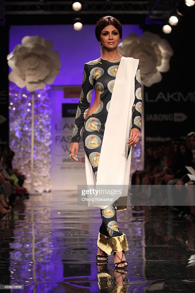 Shilpa Shetty showcases designs by Masaba during the Opening Day show as part of Lakme Fashion Week Winter/Festive 2014 at The Palladium Hotel on...