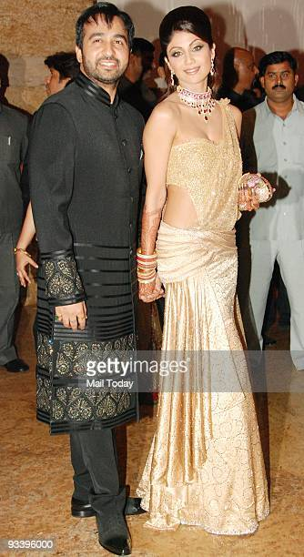 Shilpa Shetty with husband Raj Kundra at her wedding reception in Mumbai on Tuesday November 24 2009