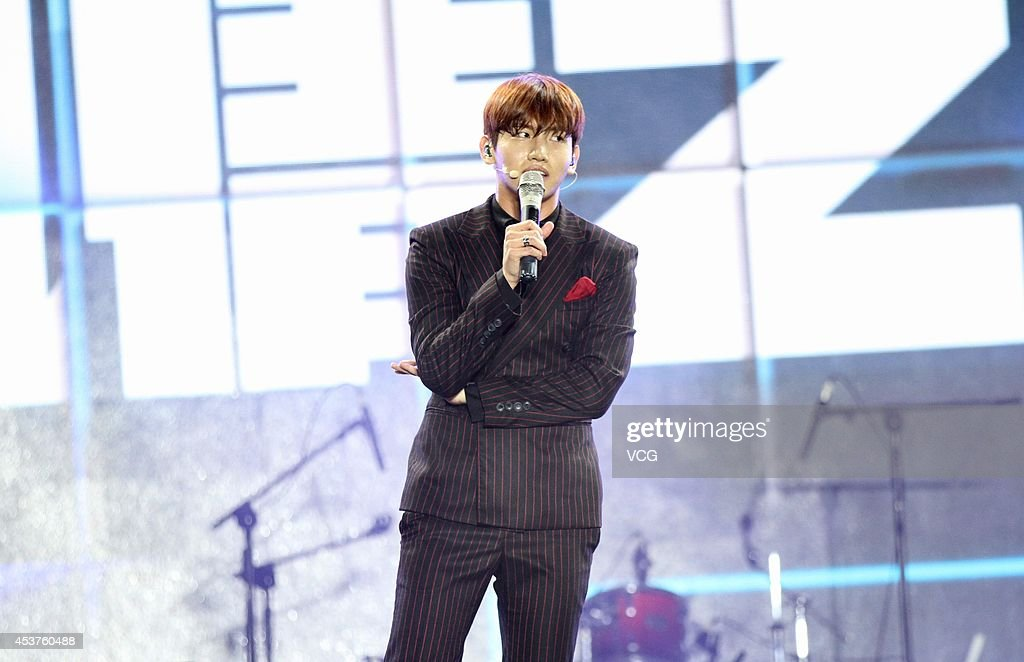 Shim Changmin of idol group Tohoshinki performs on stage at 2014 Automotive International Pudong Carnival In Shanghai on August 17 2014 in Shanghai...
