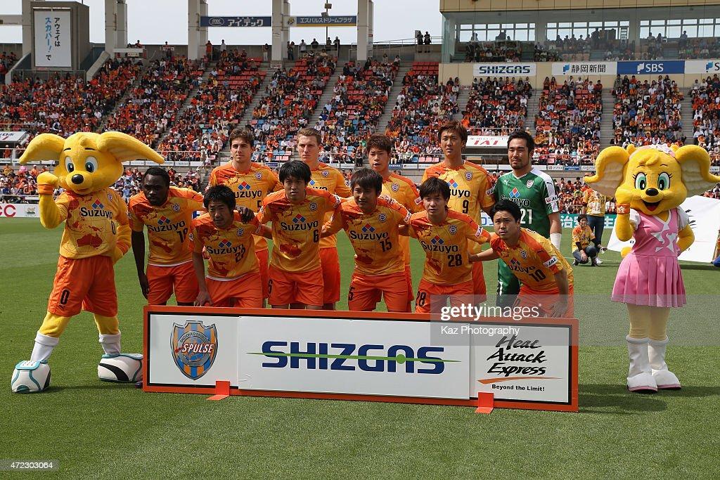 Shimizu S-Pulse players line up for the team photos prior to the J.League match between Shimizu S-Pulse and Sagan Tosu at IAI Stadium Nihondaira on May 6, 2015 in Shizuoka, Japan.