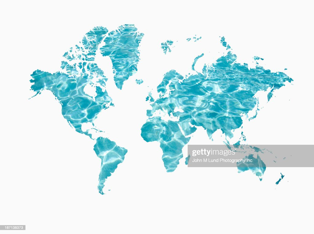 Shimmering water in shape of world map