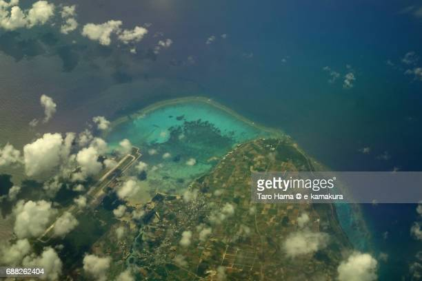 Shimojijima Island daytime aerial view from airplane