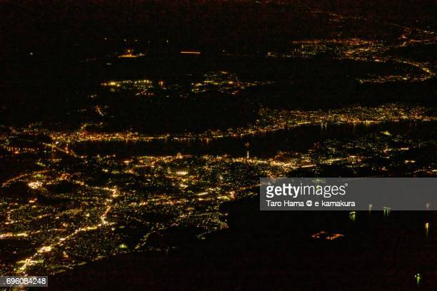 Shimonoseki city night time aerial view from airplane