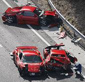 Shimonoseki Japan Photo taken from a Kyodo News helicopter on Dec 4 shows three Ferraris wrecked in an accident on an expressway in Shimonoseki...