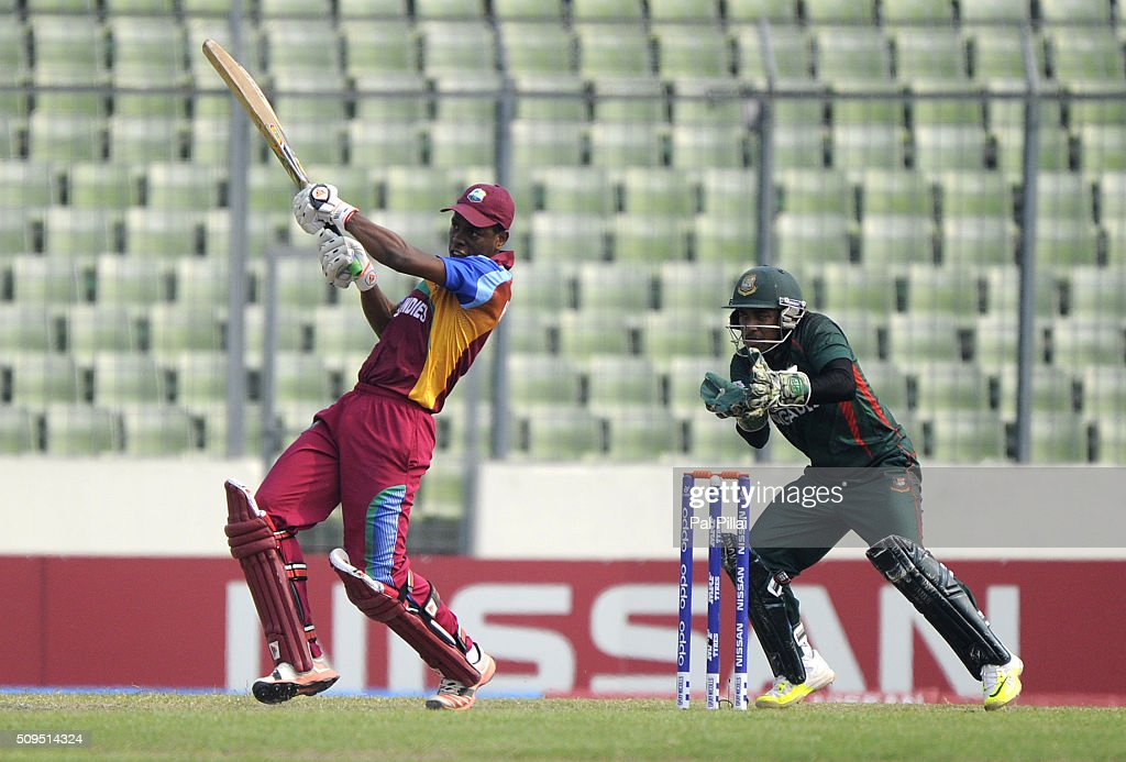Shimron Hetmyer of West Indies U19 bats during the ICC U 19 World Cup Semi-Final match between Bangladesh and West Indies on February 11, 2016 in Dhaka, Bangladesh.