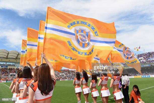 Shimzu SPulse cheer leaders perform prior to the JLeague J1 match between Shimizu SPulse and Yokohama FMarinos at IAI Stadium Nihondaira on May 27...
