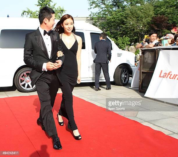 Shin DongYeop and Kim AJoong attend the 50th Paeksang Arts Awards at Grand Peace Palace in Kyung Hee University on May 27 2014 in Seoul South Korea