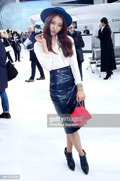 Shin Hye Park attends the Chanel show as part of the Paris Fashion Week Womenswear Spring/Summer 2016 Held at Grand Palais on October 6 2015 in Paris...