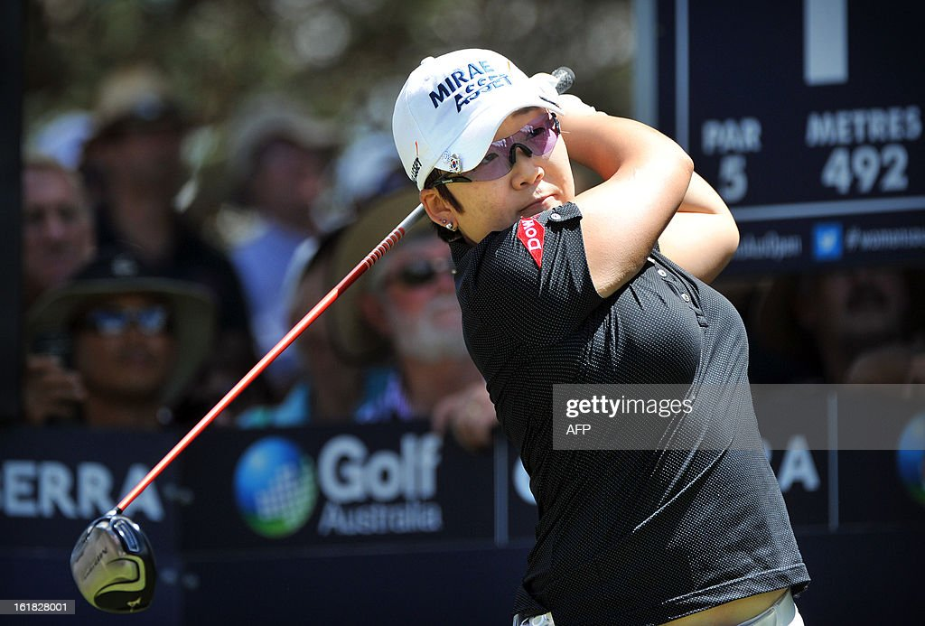 Shin Ji-Yai of South Korea tees off during the final round of the Women's Australian Open golf tournament in Canberra on February 17, 2013.