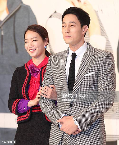 Shin Mina and So Jisub attend the KBS drama 'Oh My Venus' press conference at Amoris on November 11 2015 in Seoul South Korea