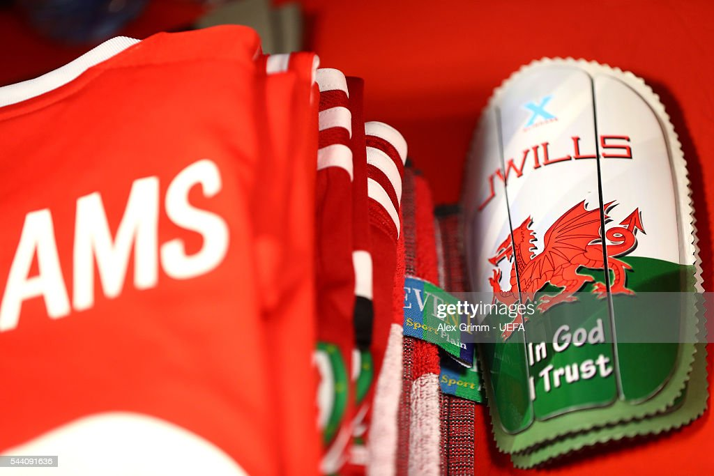 A shin pads worn by a Wales player are seen in the dressing room prior to the UEFA EURO 2016 quarter final match between Wales and Belgium at Stade Pierre-Mauroy on July 1, 2016 in Lille, France.