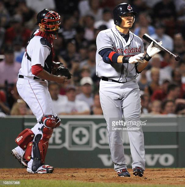 Shin Soo Choo of the Cleveland Indians attempts a bunt against the Boston Red Sox August 5 2010 at Fenway Park in Boston Massachusetts