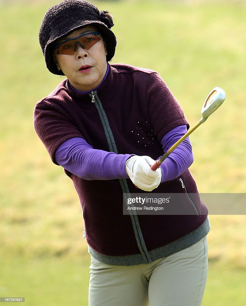 Shin Young-ja, Lotte Shopping CEO, in action during the Pro Am tournament prior to the start of the Ballantine's Championship at Blackstone Golf Club on April 24, 2013 in Icheon, South Korea.