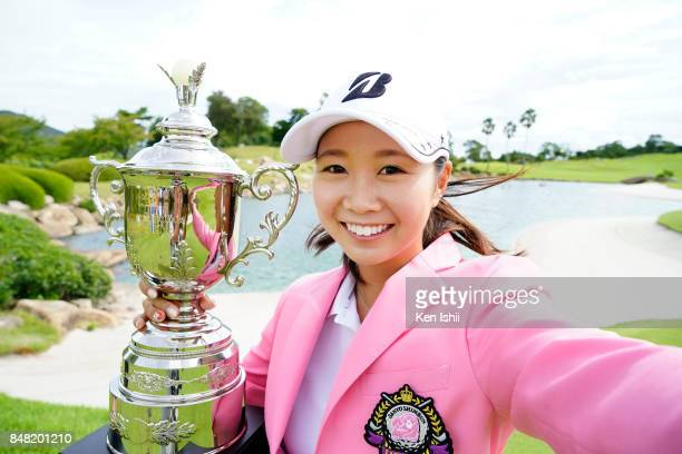 Shina Kanazawa of Japan poses for photo after winning the game during the award ceremony of the Sanyo Shimbun Ladies Cup at the Tojigaoka Marine...