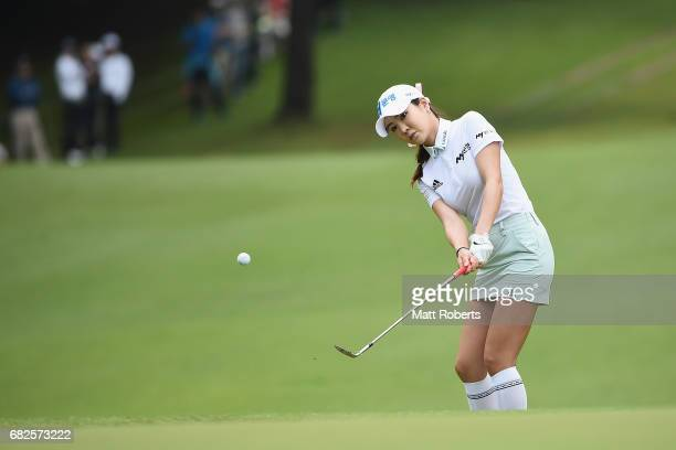ShinAe Ahn of South Korea chips onto the 10th green during the first round of the HokennoMadoguchi Ladies at the Fukuoka Country Club Wajiro Course...