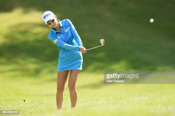 ShinAe Ahn of South Korea chips onto the 13th green during the third round of the 50th LPGA Championship Konica Minolta Cup 2017 at the Appi Kogen...