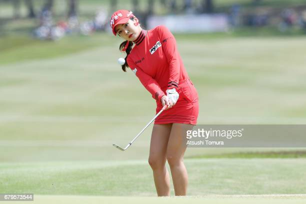 ShinAe Ahn of South Korea chips onto the 14th green during the third round of the World Ladies Championship Salonpas Cup at the Ibaraki Golf Club on...