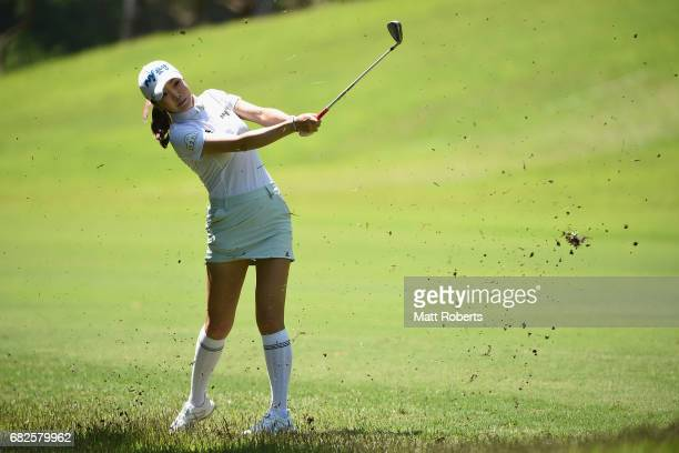 ShinAe Ahn of South Korea hits from the rough on the 6th hole during the second round of the HokennoMadoguchi Ladies at the Fukuoka Country Club...