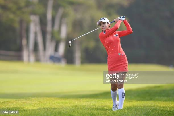 ShinAe Ahn of South Korea hits her second shot on the 10th hole during the second round of the 50th LPGA Championship Konica Minolta Cup 2017 at the...