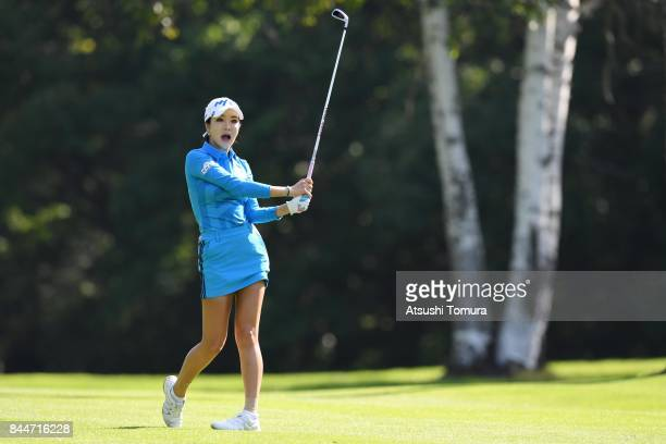 ShinAe Ahn of South Korea hits her second shot on the 10th hole during the third round of the 50th LPGA Championship Konica Minolta Cup 2017 at the...