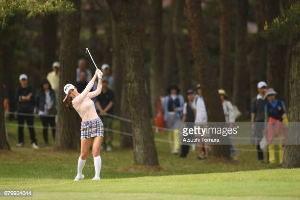 ShinAe Ahn of South Korea hits her second shot on the 9th hole during the final round of the World Ladies Championship Salonpas Cup at the Ibaraki...