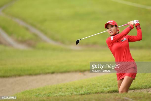 ShinAe Ahn of South Korea hits her second shot on the 9th hole during the second round of the Miyagi TV Cup Dunlop Ladies Open 2017 at the Rifu Golf...