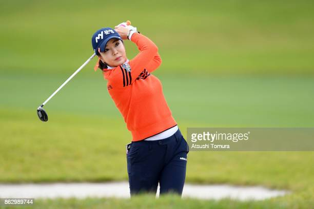 ShinAe Ahn of South Korea hits her second shot on the 9th hole during the first round of the Nobuta Group Masters GC Ladies at the Masters Golf Club...