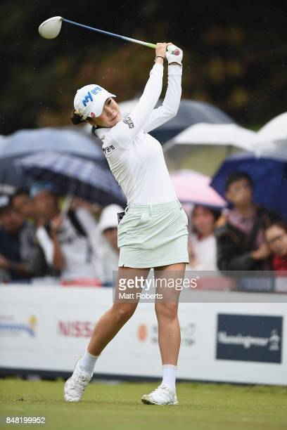 ShinAe Ahn of South Korea hits her tee shot on the 10th hole during the final round of the Munsingwear Ladies Tokai Classic 2017 at the Shin Minami...