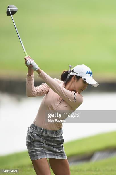 ShinAe Ahn of South Korea hits her tee shot on the 15th hole during the first round of the 50th LPGA Championship Konica Minolta Cup 2017 at the Appi...