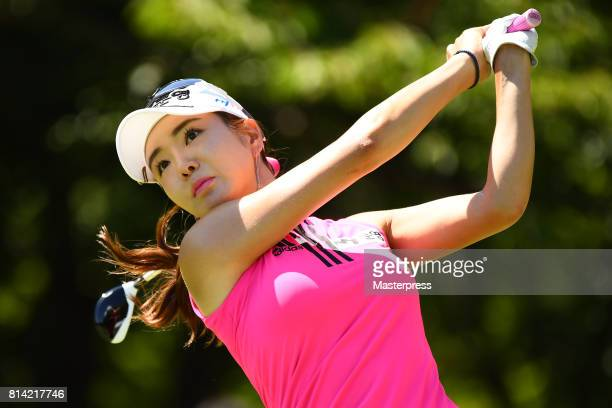 ShinAe Ahn of South Korea hits her tee shot on the 16th hole during the first round of the Samantha Thavasa Girls Collection Ladies Tournament at the...