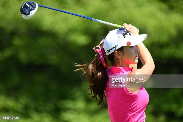 ShinAe Ahn of South Korea hits her tee shot on the 17th hole during the first round of the Samantha Thavasa Girls Collection Ladies Tournament at the...