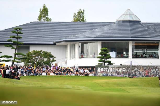 ShinAe Ahn of South Korea hits her tee shot on the 1st hole during the final round of the Miyagi TV Cup Dunlop Ladies Open 2017 at the Rifu Golf Club...
