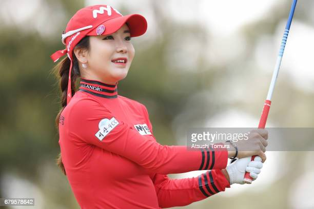 ShinAe Ahn of South Korea hits her tee shot on the 2nd hole during the third round of the World Ladies Championship Salonpas Cup at the Ibaraki Golf...