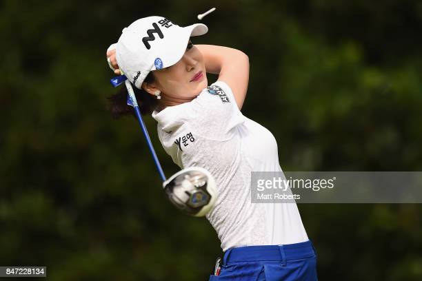 ShinAe Ahn of South Korea hits her tee shot on the 2nd hole during the first round of the Munsingwear Ladies Tokai Classic 2017 at the Shin Minami...