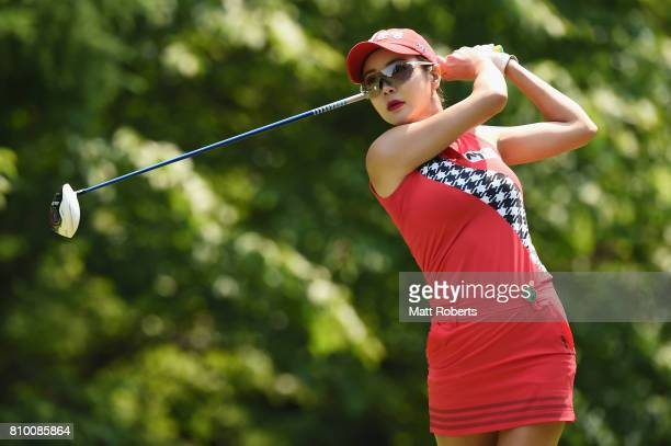 ShinAe Ahn of South Korea hits her tee shot on the 4th hole during the first round of the Nipponham Ladies Classics at the Ambix Hakodate Club on...