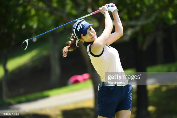 ShinAe Ahn of South Korea hits her tee shot on the 5th hole during the second round of the Earth Mondamin Cup at the Camellia Hills Country Club on...