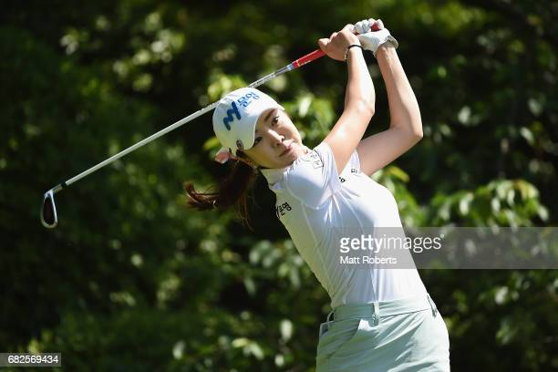 ShinAe Ahn of South Korea hits her tee shot on the 7th hole during the second round of the HokennoMadoguchi Ladies at the Fukuoka Country Club Wajiro...