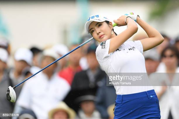 ShinAe Ahn of South Korea hits her tee shot on the10th hole during the third round of the Nitori Ladies 2017 at the Otaru Country Club on August 26...
