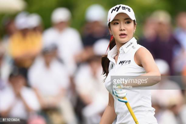 ShinAe Ahn of South Korea looks on after her tee shot on the 1st hole during the final round of the Nipponham Ladies Classics at the Ambix Hakodate...