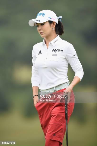 ShinAe Ahn of South Korea looks on during the final round of the Munsingwear Ladies Tokai Classic 2017 at the Shin Minami Aichi Country Club Mihama...