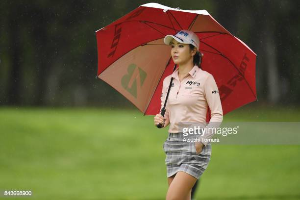ShinAe Ahn of South Korea looks on during the first round of the 50th LPGA Championship Konica Minolta Cup 2017 at the Appi Kogen Golf Club on...