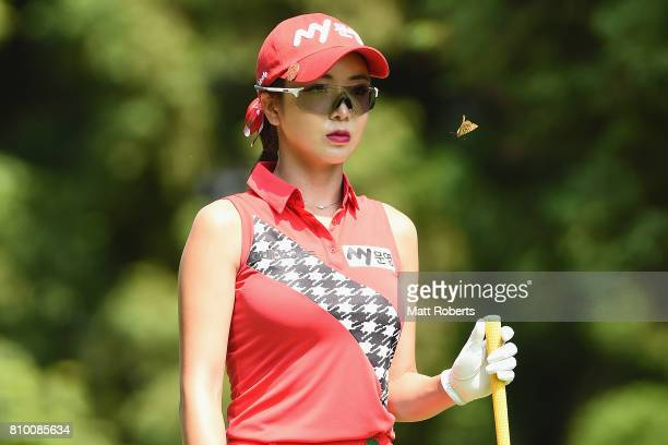 ShinAe Ahn of South Korea looks on during the first round of the Nipponham Ladies Classics at the Ambix Hakodate Club on July 7 2017 in Hokuto...