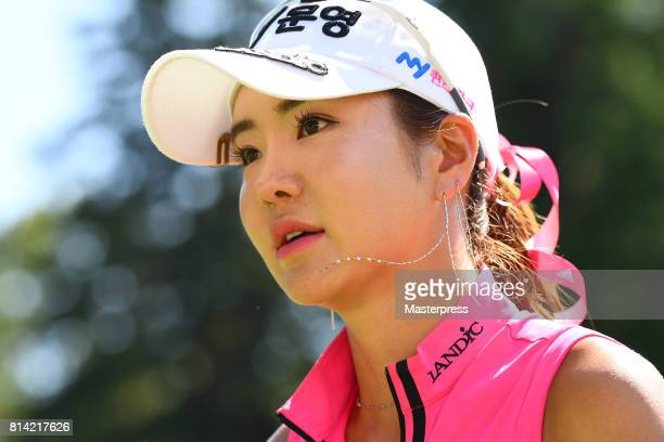 ShinAe Ahn of South Korea looks on during the first round of the Samantha Thavasa Girls Collection Ladies Tournament at the Eagle Point Golf Club on...