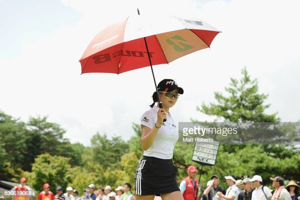 ShinAe Ahn of South Korea looks on during the second round of the NEC Karuizawa 72 Golf Tournament 2017 at the Karuizawa 72 Golf North Course on...
