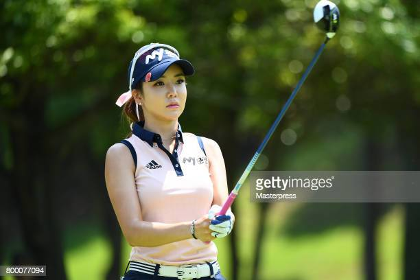 ShinAe Ahn of South Korea looks on during the second round of the Earth Mondamin Cup at the Camellia Hills Country Club on June 23 2017 in Sodegaura...