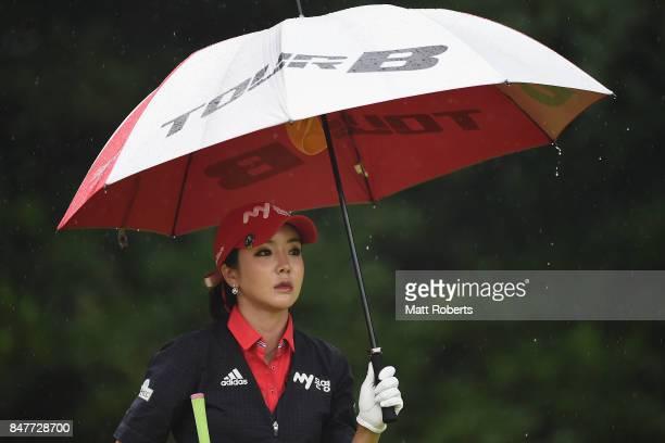 ShinAe Ahn of South Korea looks on during the second round of the Munsingwear Ladies Tokai Classic 2017 at the Shin Minami Aichi Country Club Mihama...