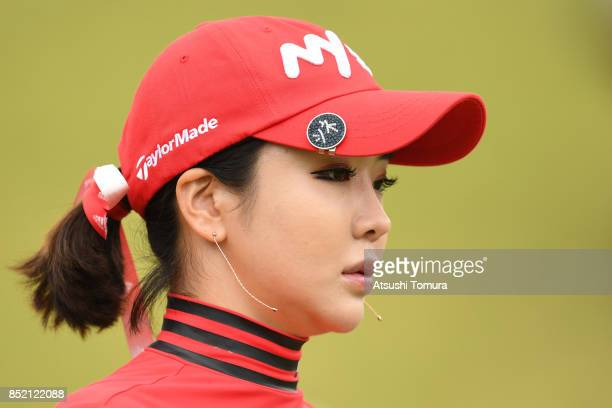 ShinAe Ahn of South Korea looks on during the second round of the Miyagi TV Cup Dunlop Ladies Open 2017 at the Rifu Golf Club on September 23 2017 in...