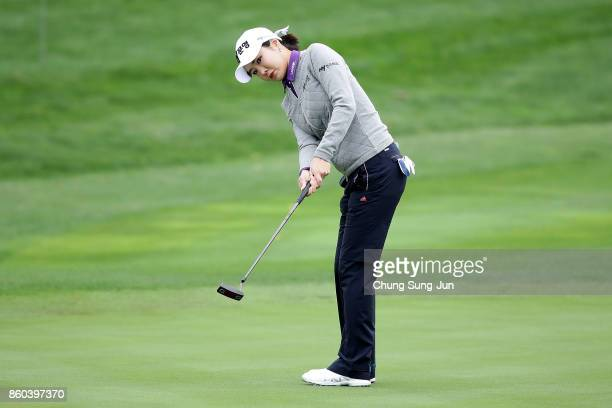 ShinAe Ahn of South Korea plays a putt on the 1st green during the first round of the LPGA KEB Hana Bank Championship at the Sky 72 Golf Club Ocean...