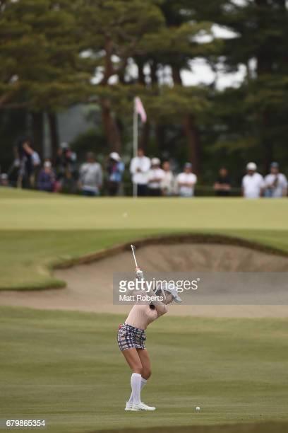 ShinAe Ahn of South Korea plays her approach shot on the 5th hole during the final round of the World Ladies Championship Salonpas Cup at the Ibaraki...