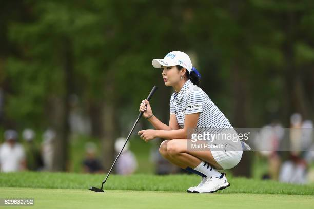 ShinAe Ahn of South Korea prepares to putt on the first green during the first round of the NEC Karuizawa 72 Golf Tournament 2017 at the Karuizawa 72...